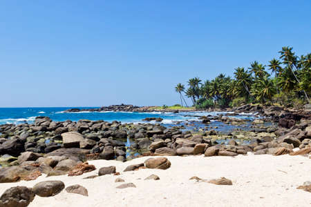 placid water: Beautiful tropical landscape with stones and palms. Southern point of Sri Lanka coastline, Ceylon Stock Photo