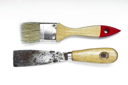 putty knives: Scraper and clean paint brush isolated on white background