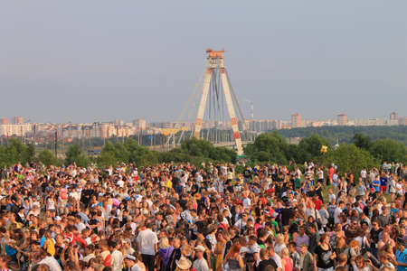 Crowd of people celebrating feast day of the city in Cherepovets, Russia