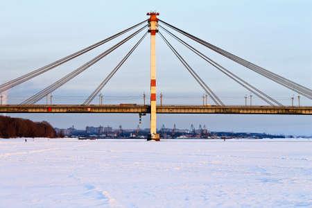 cable bridge: Large cable bridge. Winter landscape