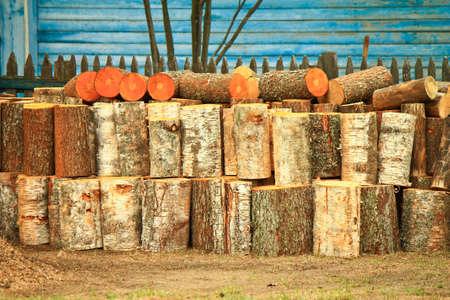 sawed: Pile of sawed pine wood Stock Photo