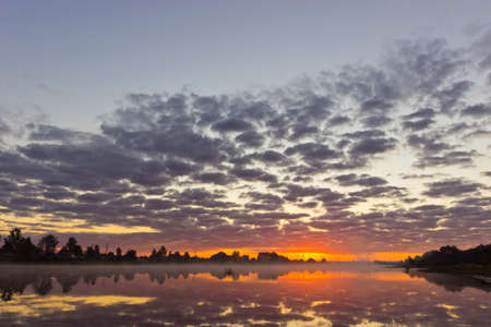 tranquility: Beautiful summer landscape with tranquility sunrise