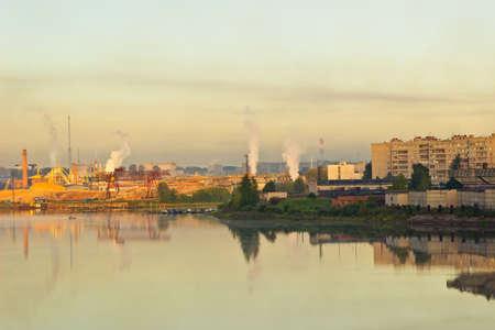 paesaggio industriale: Summer industrial landscape at sunrise