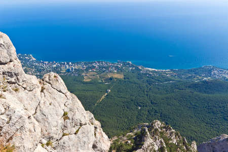natural landmark: Black sea coast panorama from view point on Ai-Petri mount, famous natural landmark
