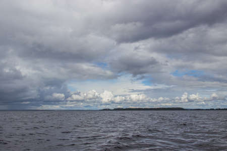 onega: Onega lake before rain. View from boat