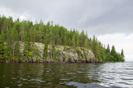 lake shore: Landscape of Onega lake shore Stock Photo