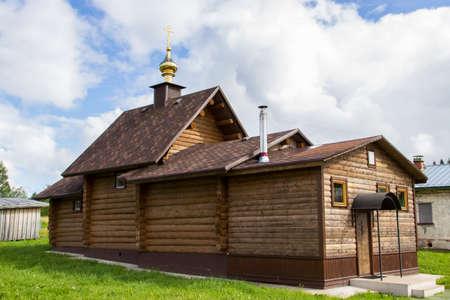 onega: Wooden church in Complex of Kornilie-Paleostrovsky monastery on Paliy island, Onega lake, Karelia, Russia Stock Photo