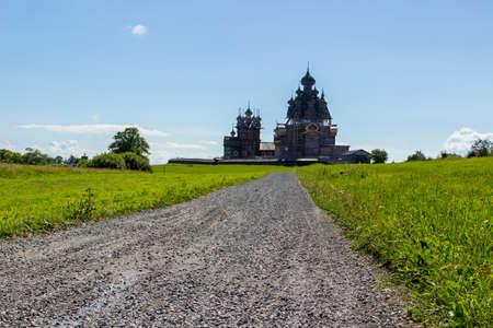 Ancient wooden religious architecture. Summer landscape. Kizhi Island, Russia