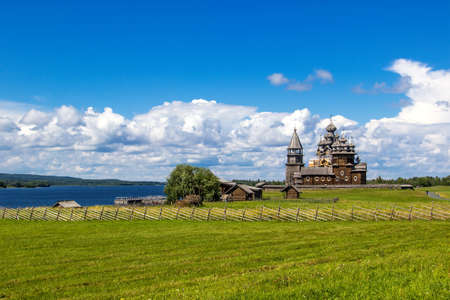 Ancient wooden religious architecture. Summer landscape. Kizhi Island, Russia