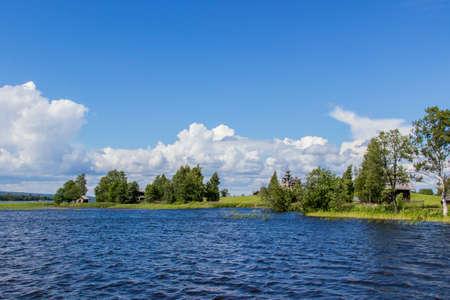 lake shore: Summer rural landscape of lake shore