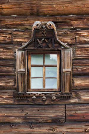 Kizhi traditional wooden architecture of the old house of logs, Karelia, Russia Stock Photo