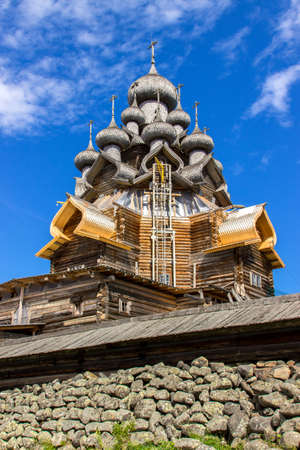 Church of the Transfiguration at Kizhi pogost, traditional russian wooden architecture