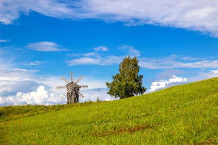 Traditional wooden windmill on Kizhi Island. Karelia, Russia Stock Photo