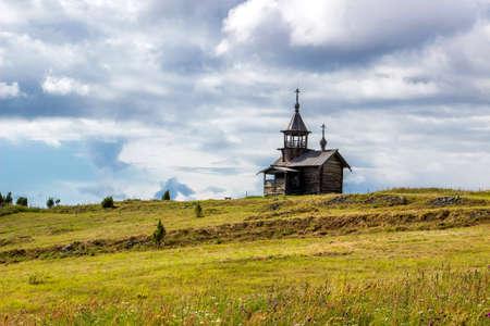 Wooden chapel on hill, Kizhi island