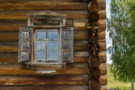 kizhi: Kizhi traditional wooden architecture of the old house of logs, Karelia, Russia Stock Photo