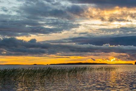 karelia: Beautiful tranquil summer sunset on the Onega lake, Karelia, Russia