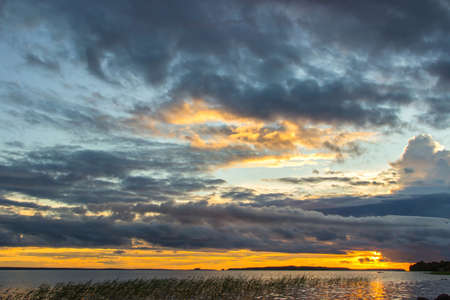 onega: Beautiful tranquil summer sunset on the Onega lake, Karelia, Russia