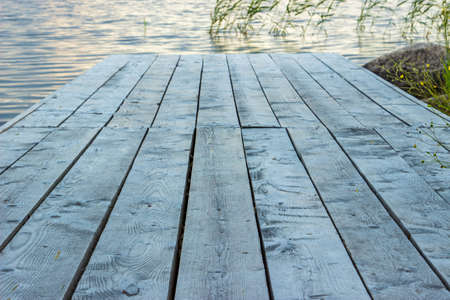 onega: Wooden pier on lake Stock Photo