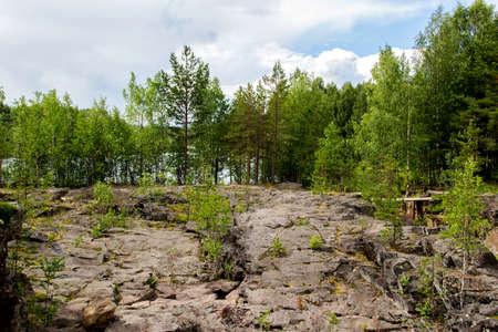 karelia: Landscape on ancient Girvas volcano crater in Karelia, Russia Stock Photo
