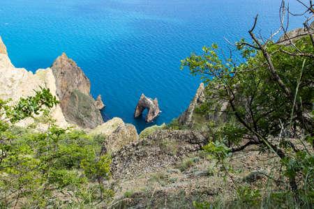 Golden Gate rock in Karadag National park near Koktebel, Crimea. Top view Stock Photo