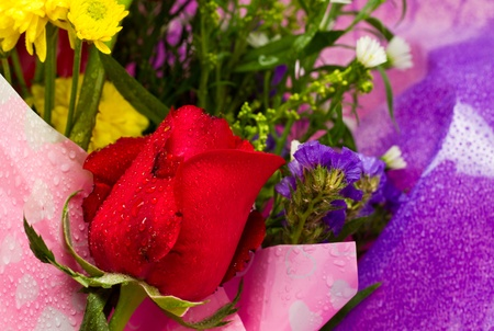 a graduation bouquet of various flowers for her in close up photo
