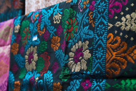 Songket sarong displayed at traditional costume shop in Terengganu Malaysia