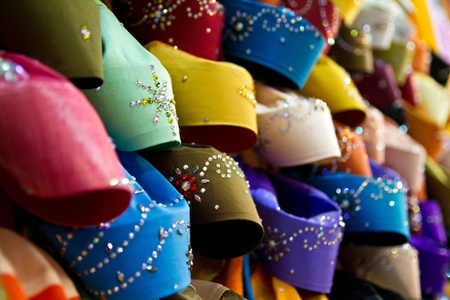 colorful head cover for muslim women displayed at a shop in Terengganu Malaysia in landscape orentation Stock Photo