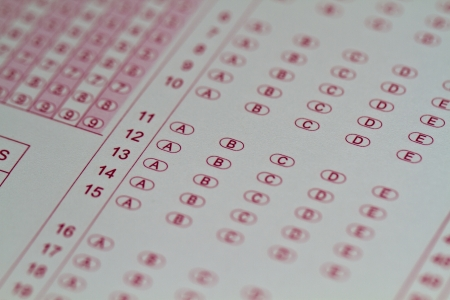 close up of a multiple choice answer sheet answer ready to be filled in the examination Stock Photo - 10690409