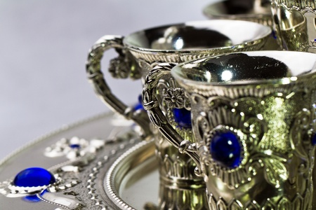 Silver tea set on grey background Stock Photo - 11166896
