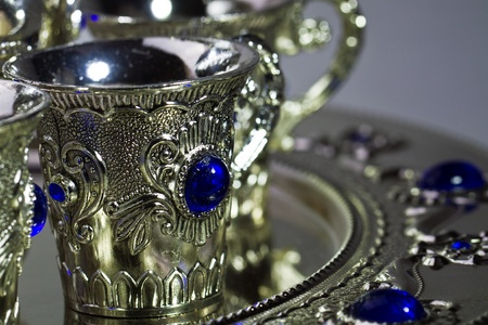 Silver tea set close up view on a dark background Stock Photo - 11166897