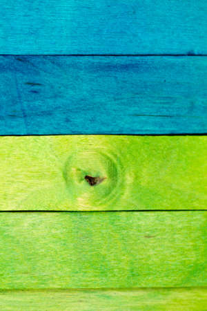 horizontal blue and green wood in portrait orientation Stock Photo