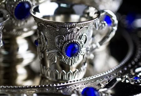 Silver set cup close up Stock Photo - 11496125
