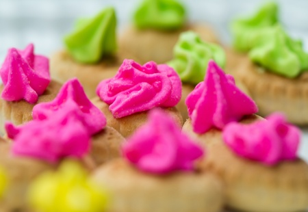 Pink Icing Topped Cookies  Stock Photo