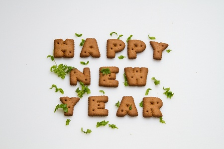 Happy New Year Biscuits And Leaves  photo