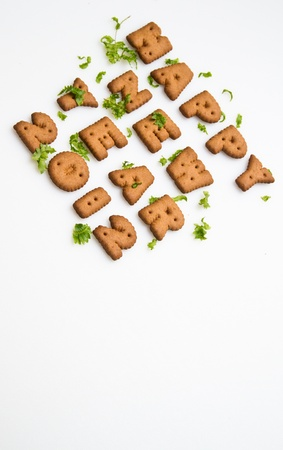 Happy New Year Biscuits And Leaves Vertical Stock Photo - 11592094