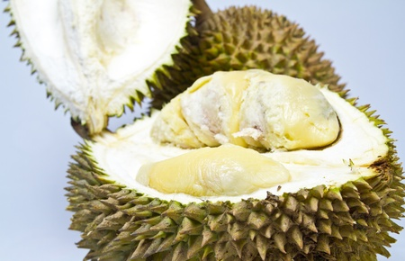 close up view of an opened durian on bluish background in landscape orientation Stock Photo