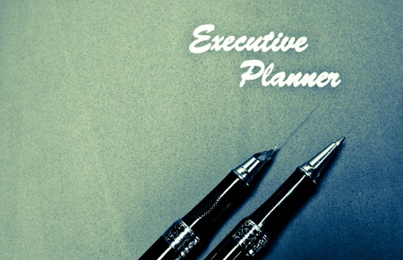 red executive planner with two pens splitted tone in lansdcape orientation