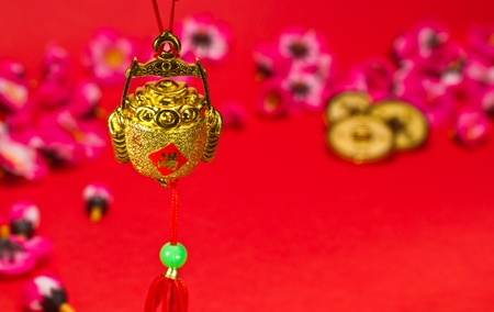 Chinese New Year ornament on red background for festive using photo