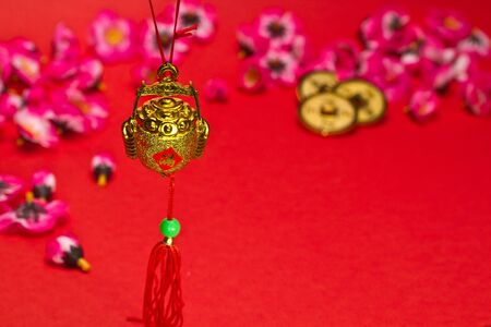 Chinese New Year ornament on red background photo