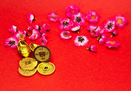 Golden nuggets and emperors coins with cherry plum blossoms on red surface for Chinese New Year Stock Photo