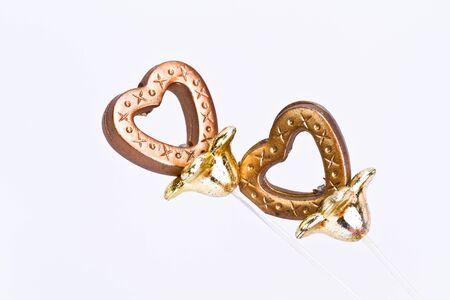 plastic heart: Brown Plastic heart on white background
