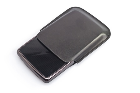 top view of a portable harddisk with soft leather case on white background photo