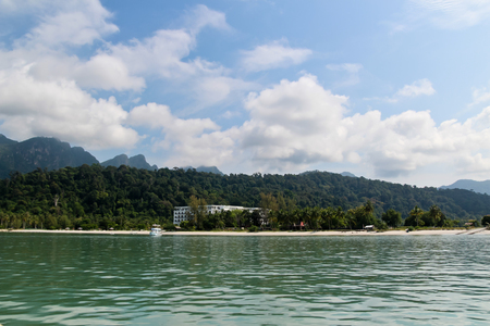Sea front hotel at Langkawi Island seen from the sea