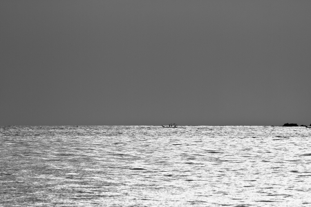sea water during sunset in B W photo