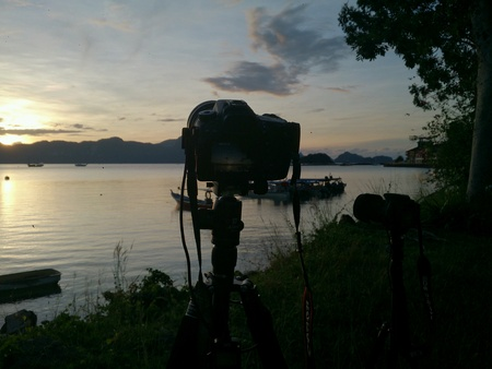 lapse: Taking sunrise time lapse Stock Photo