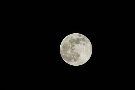 full moon: Full moon in pit black sky seen through 560mm lens Stock Photo