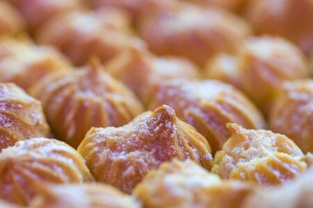 close up shot of cream puff in natural light