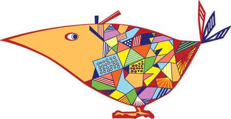 Funny drawn bird with big yellow beak Stock Vector - 6951503