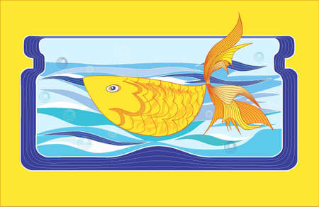 Goldfish floating in glass the bank-aquarium, drawn in curves. Illustration