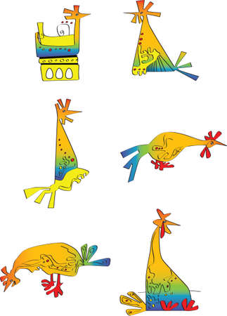 free stock photos: Ridiculous hen in different poses Illustration